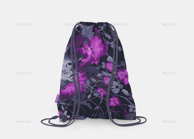 blue color drawstring bag mockup