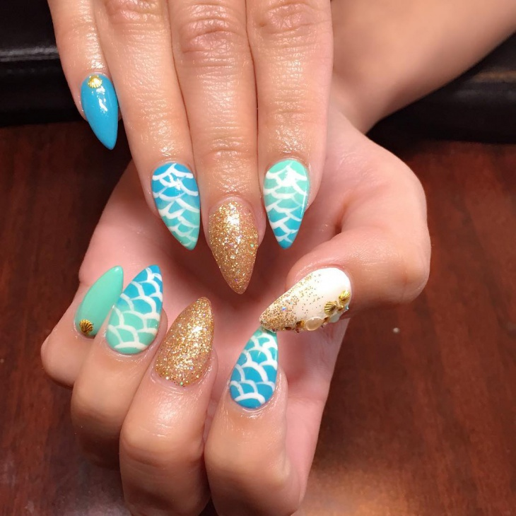 Mermaid Nail Design for Long Nails