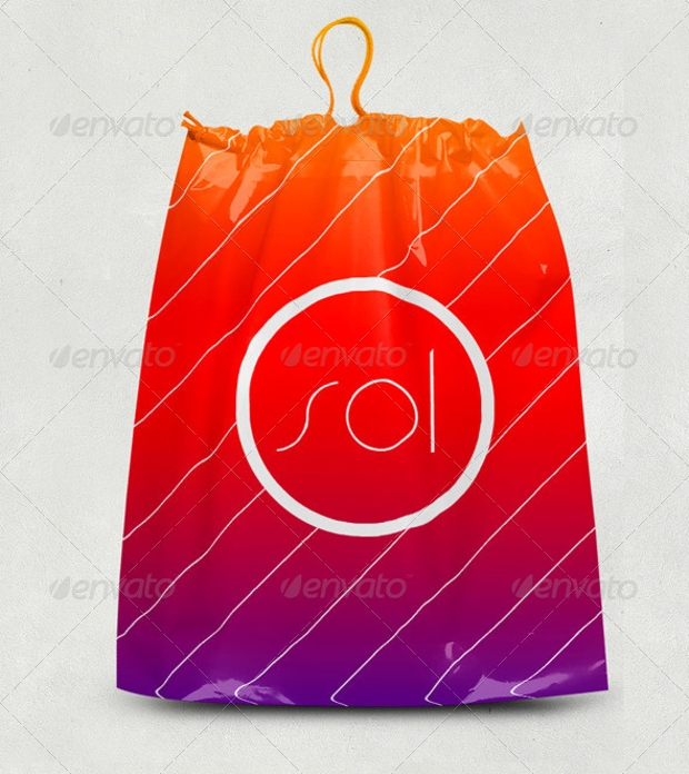 Plastic Drawstring Bag Mockup