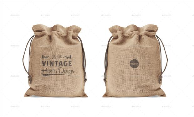 Vintage Drawstring Bag Mockup