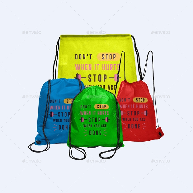beautiful drawstring bag mockup