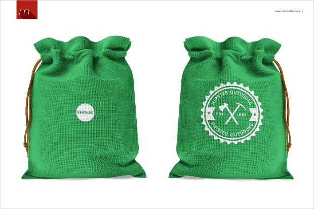 colored mockup of drawstring bag