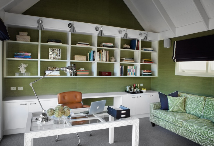 Soft Green Work Space Interior Design