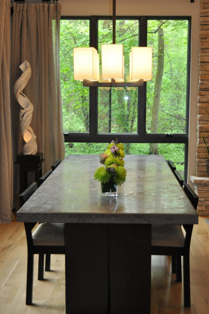Contemporary Dining Table and Pendant Light