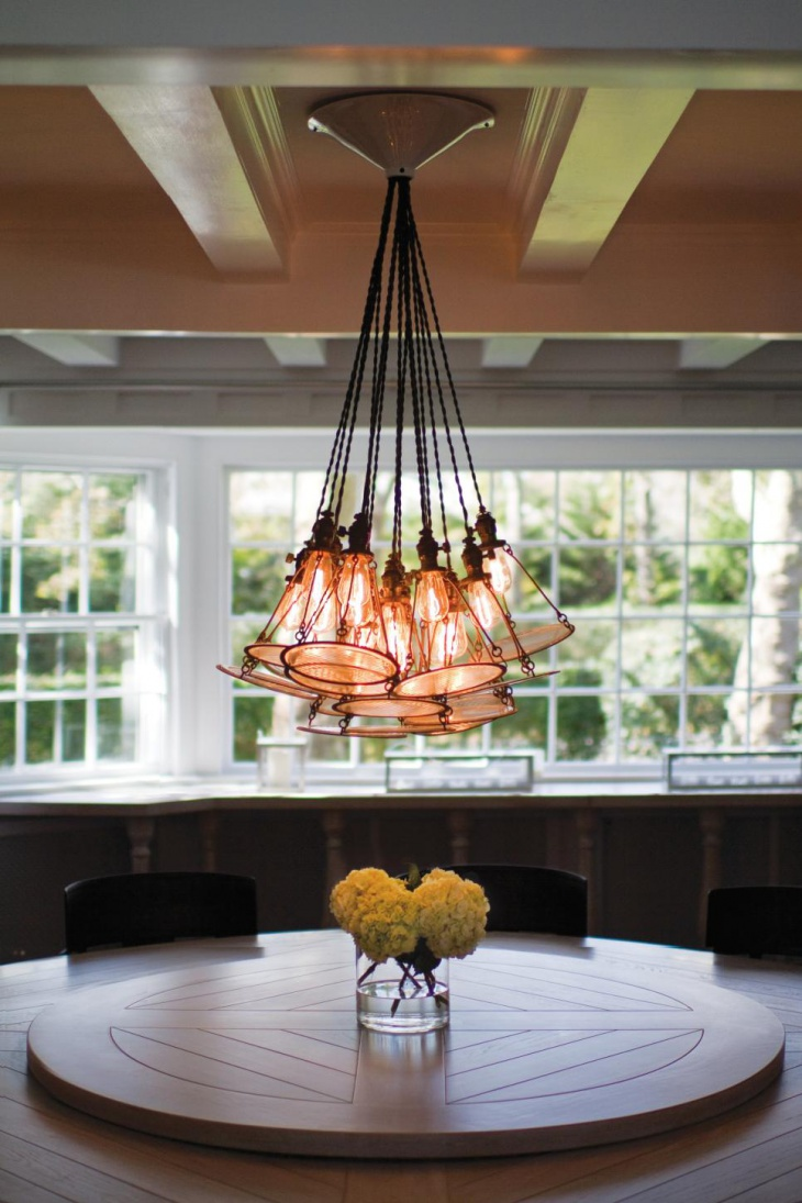 Dazzling Custom Pendant Lights Above Dining Table