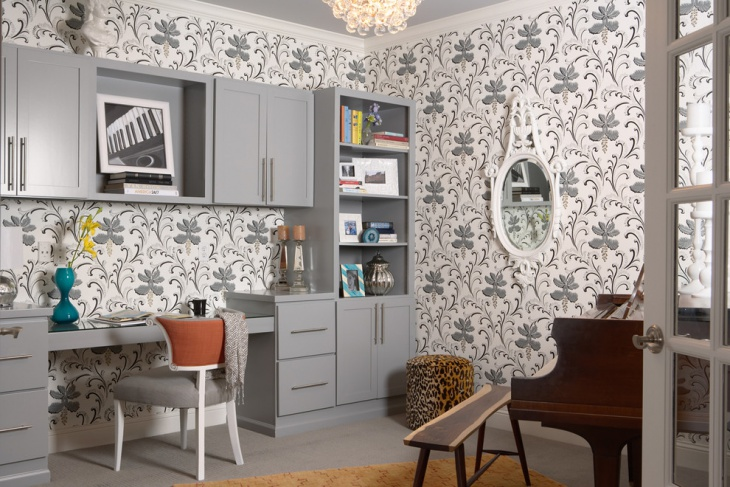 White and Gray Interior Designed Work Space