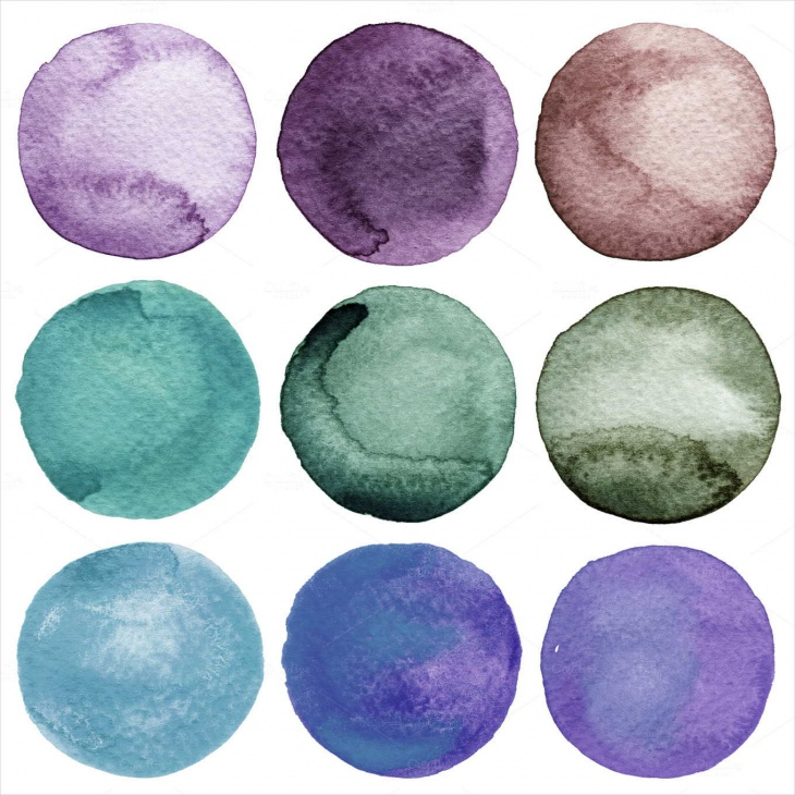 abstract painted watercolor circle textures