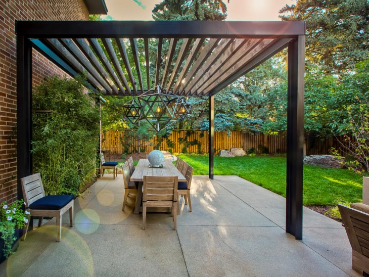 Modern Steel Beam Pergola with Hanging Light Pendants
