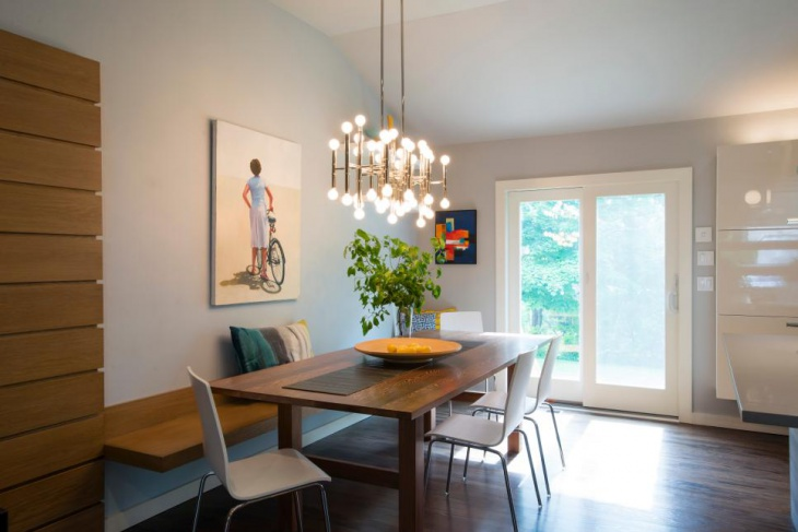 Dining Room With Multi-Bulb Light Fixture