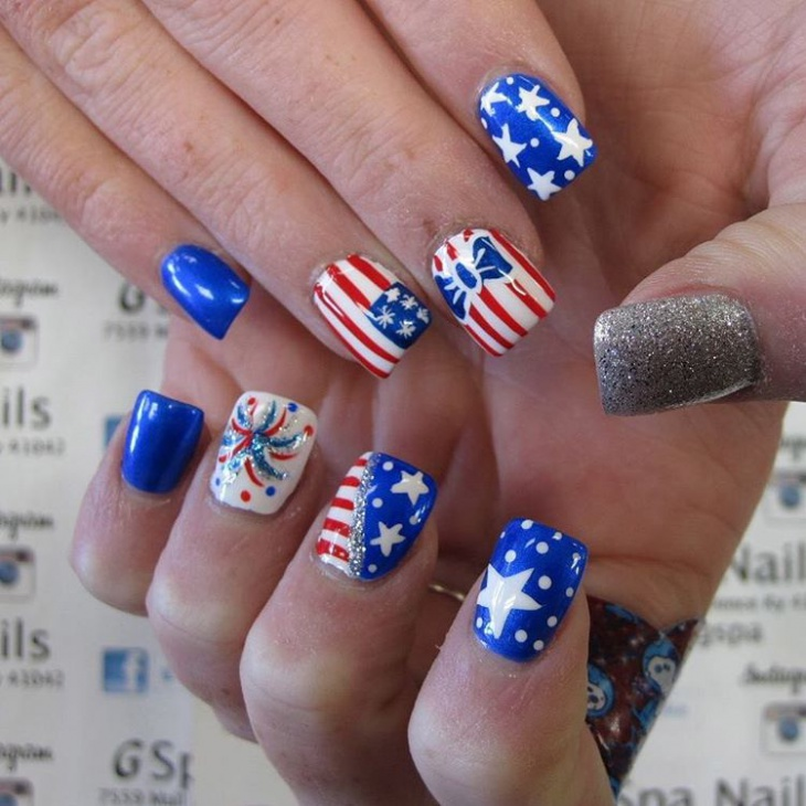 20 fourth of july nail art designs ideas design trends fourth of july glitter nail art prinsesfo Choice Image