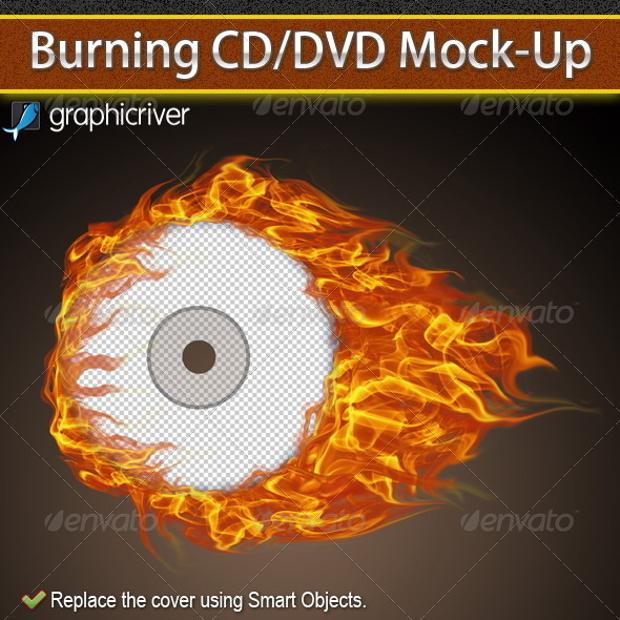 Burning CD DVD Cover Mockup