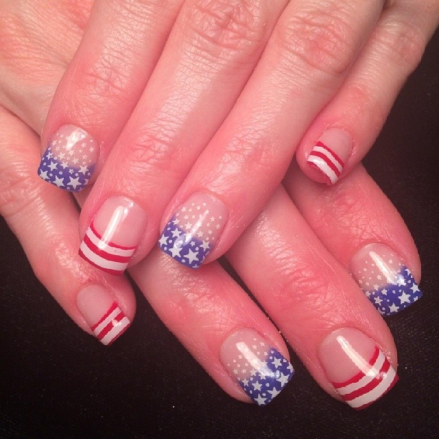Fourth of July Nail Design for Short Nails