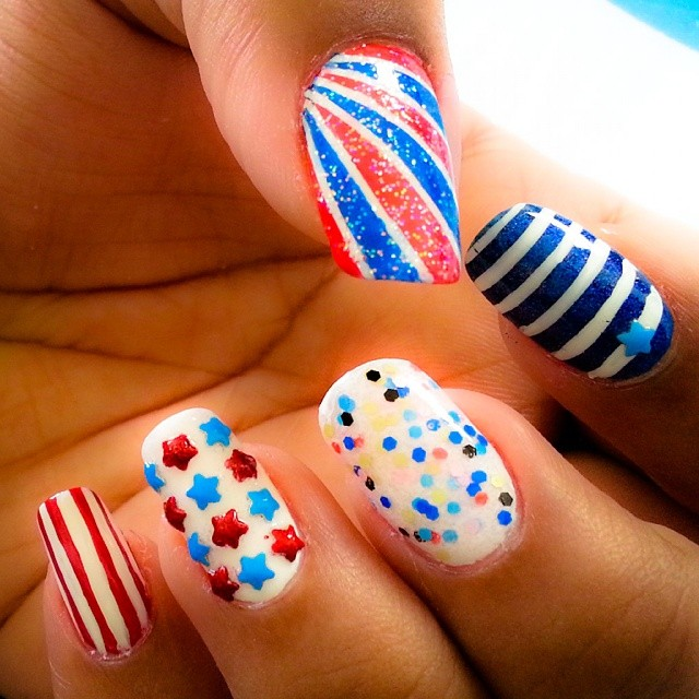 Glitter Fourth of July Nail Art