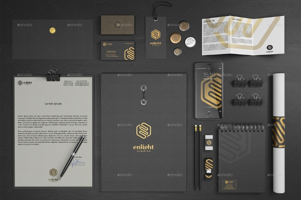 stationery branding realistic mockup