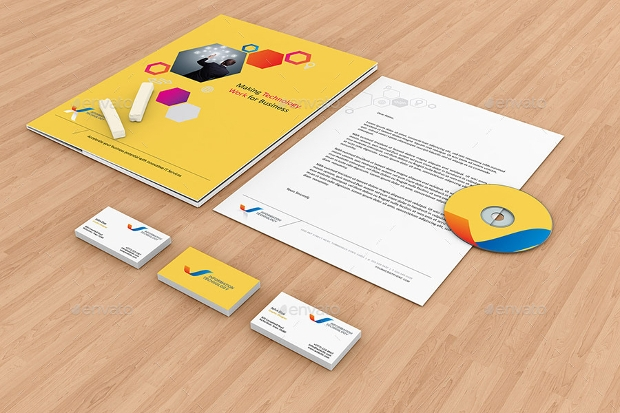 colorful stationery branding mockup