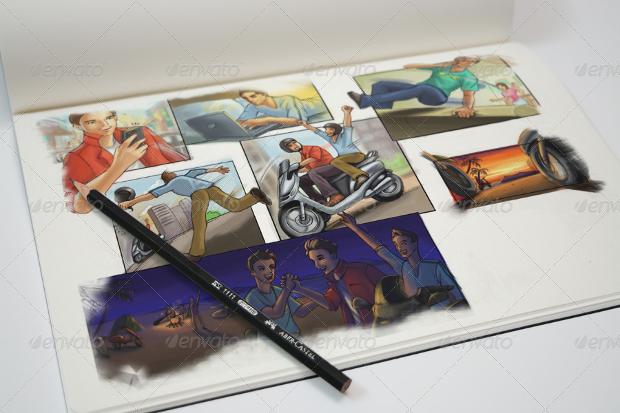 realistic sketchbook mockup