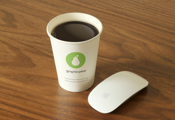 photorealistic disposable coffee cup mockup