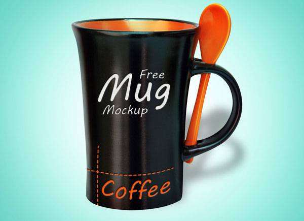 free black coffee mug psd mock up