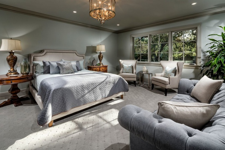 Gray Chateau Chic Bedroom Design
