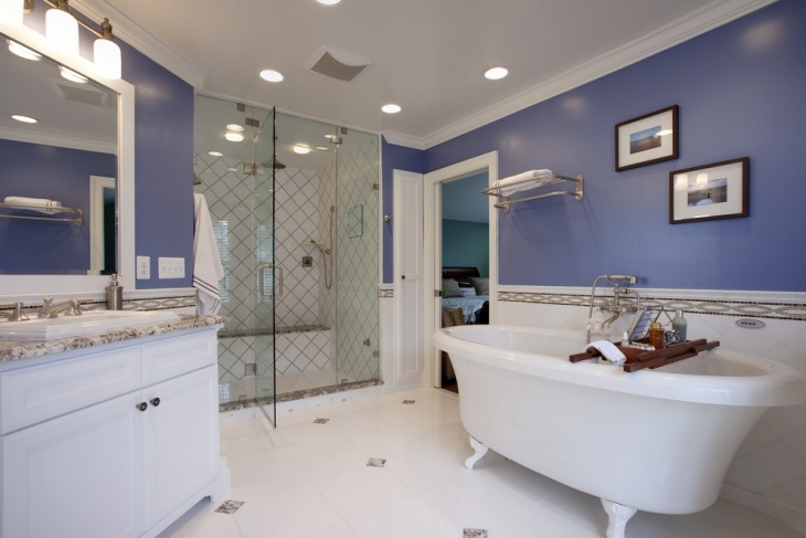 Contemporary Bathroom with Tub and Colorful Wall
