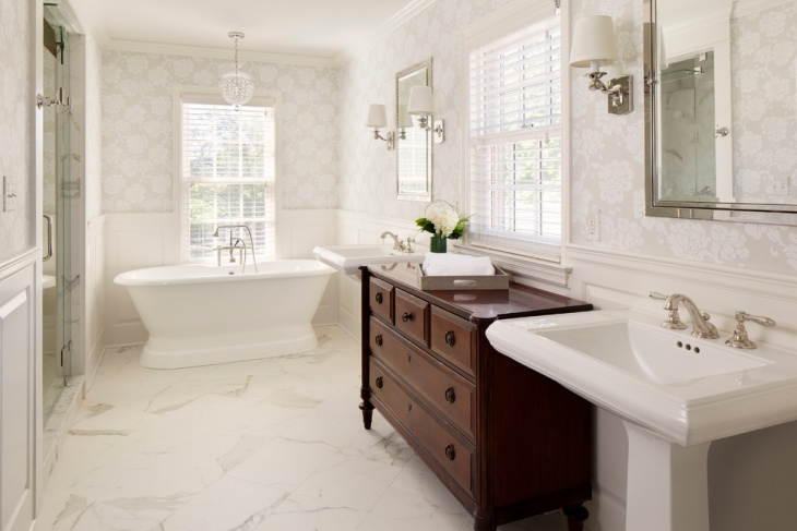 classic bathroom with steam shower and wainscoting