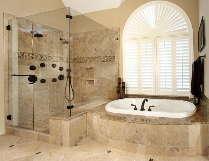 21 bathroom remodel designs decorating ideas design for Tumbled marble bathroom designs