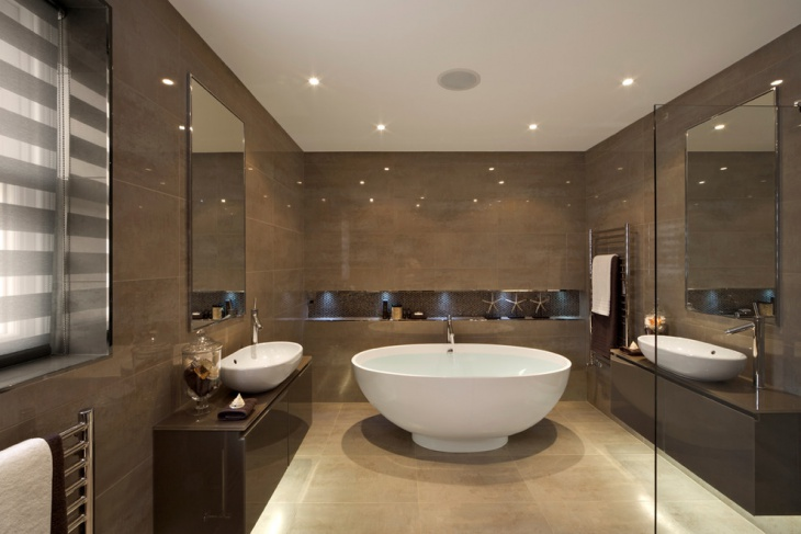 Brown Color Bathroom Design with Ceiling