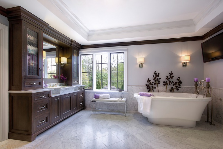 Spacious Bathroom Design with Wooden Storage Cases