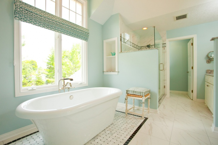 gorgeous blue bathroom design