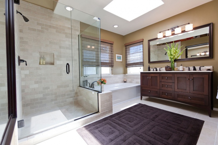 unique bathroom design with cherry wood vanity