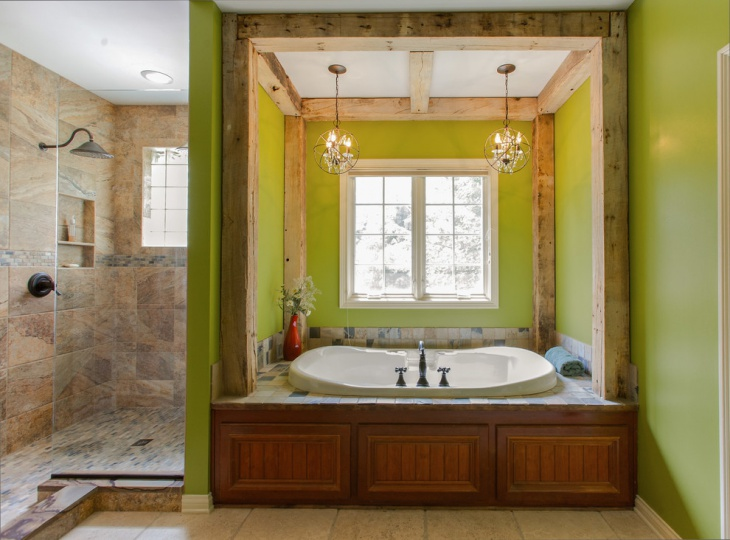 rustic bathroom remodeling design with green walls