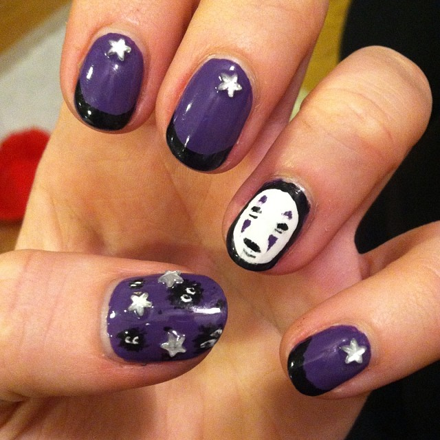 purple colored miyozaki nail ideas