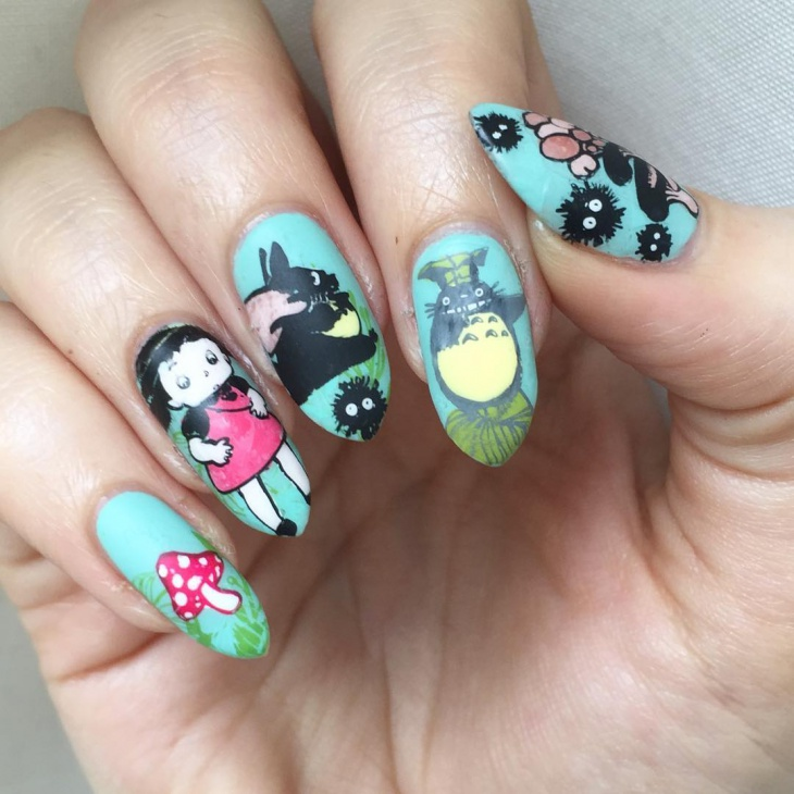 miyazaki nail design for long nails