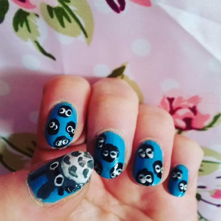 Blue Totoro Nail Art