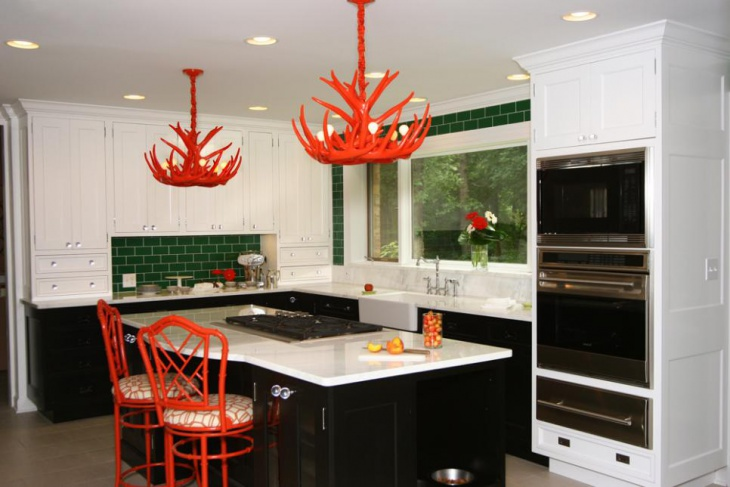 red painted antler chandeliers design