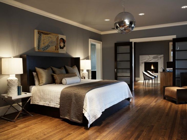 gray bedroom with mirrored ball lighting
