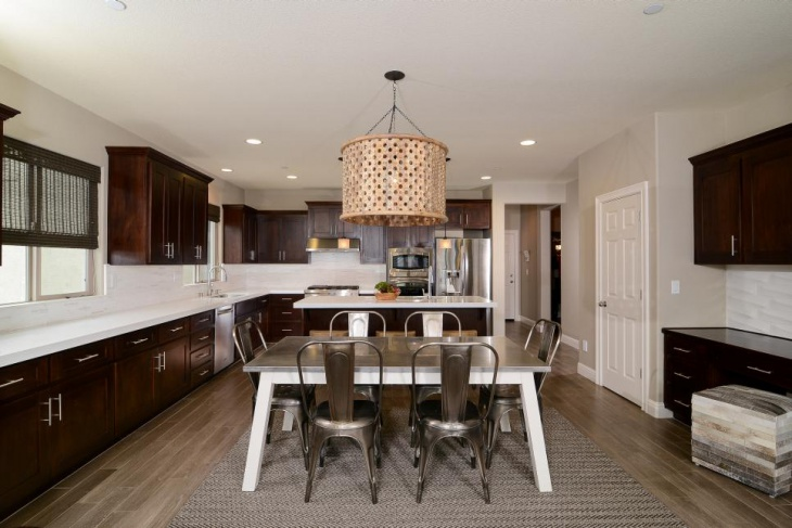 Transitional Kitchen With Natural Carved Wood Chandelier