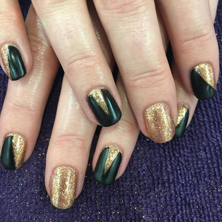 Black and Gold Glitter Nail Design