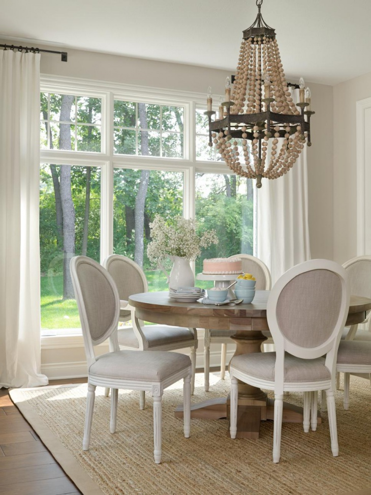 Breakfast Room With Beaded Wood Chandelier