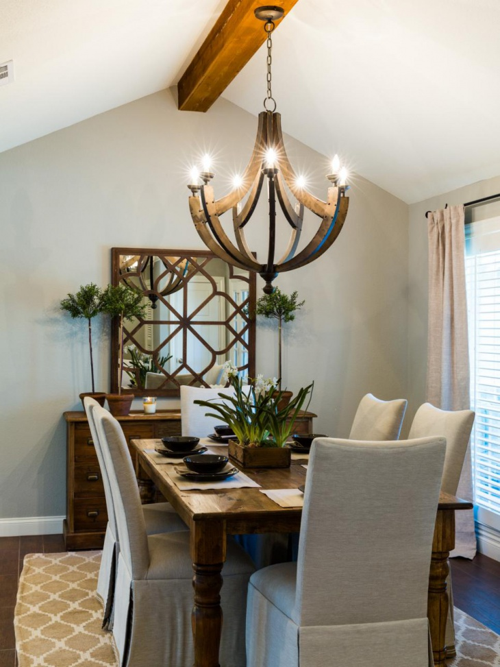 Dining Room with Rustic Wood Chandelier