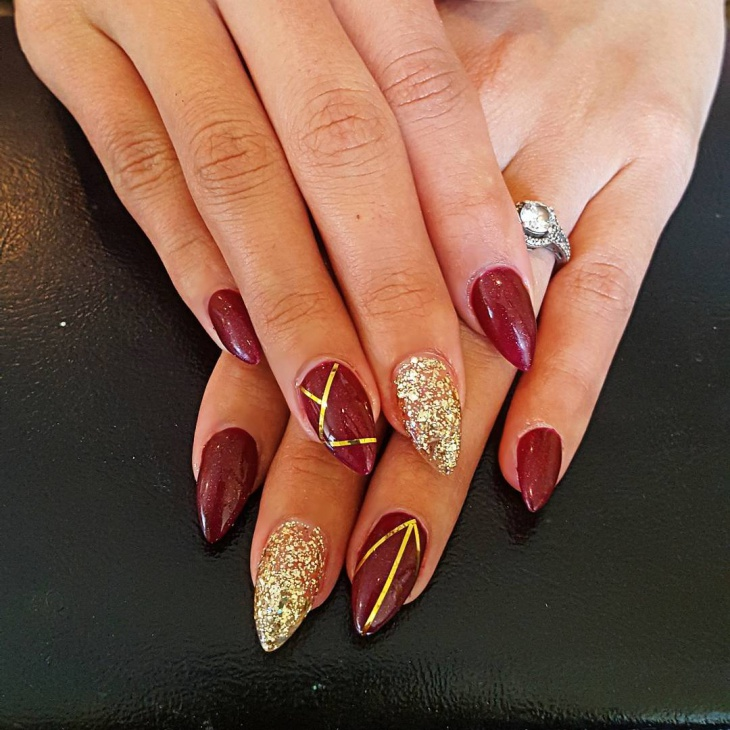 acrylic red and gold glitter nail art