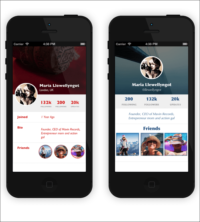12 best examples of app profile page designs design for Designing an app for iphone