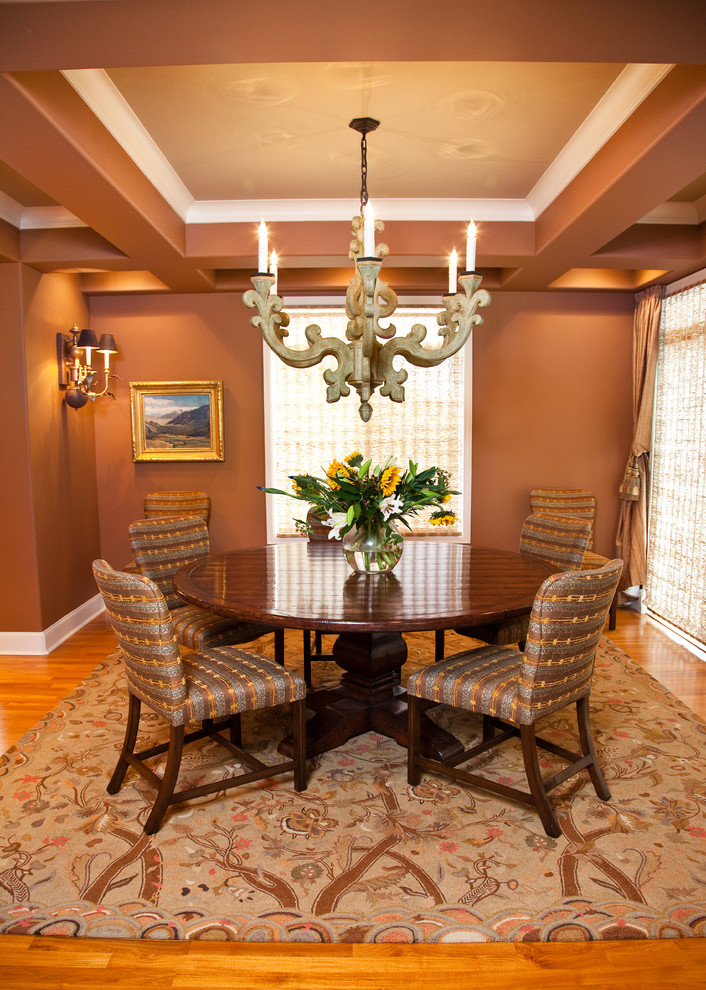 Traditional Dining Room with Vintage Wood Chendelier