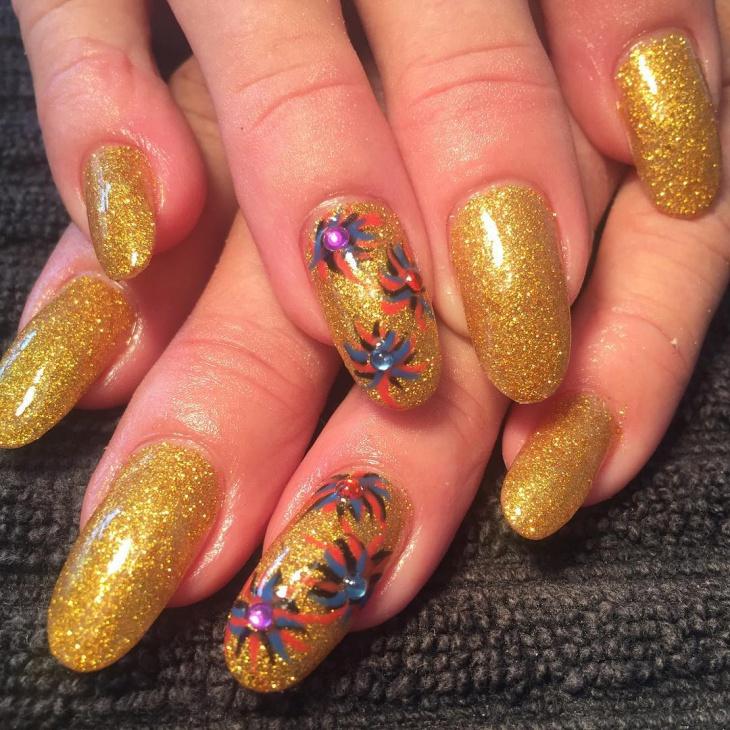 gold floral nail art