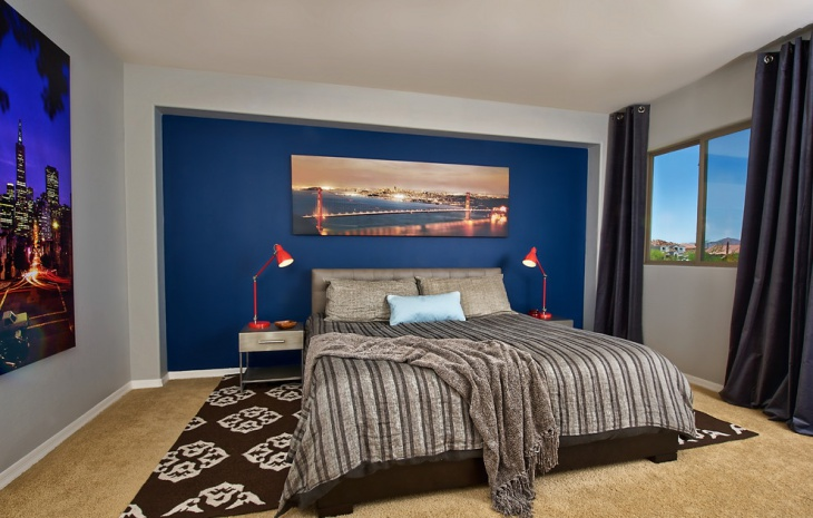 Modern Bedroom with Navy Blue Accent Wall Design