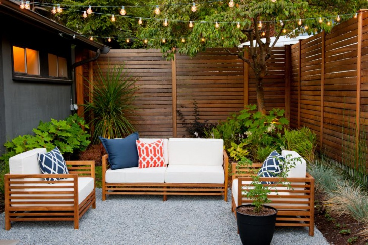 Modern Seattle Courtyard With LED String Lights