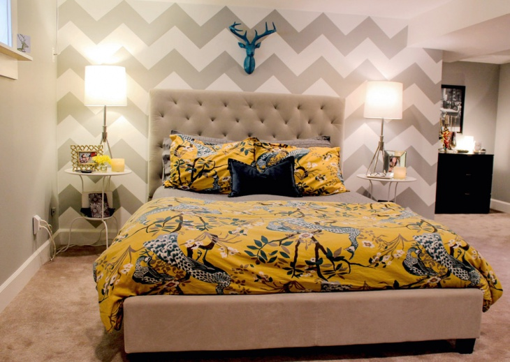 21 bedroom accent wall colour designs decor ideas for Zig zag bedroom ideas