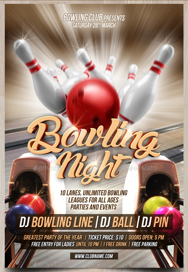 Superb Bowling Flyer Template Free  Bowling Flyer Template Free
