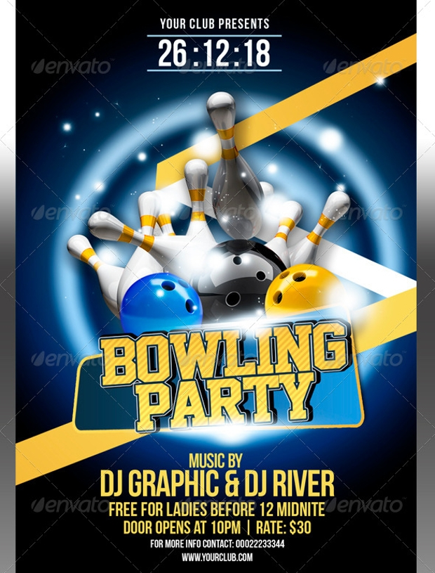 Bowling Party Flyer Template  Bowling Flyer Template Free