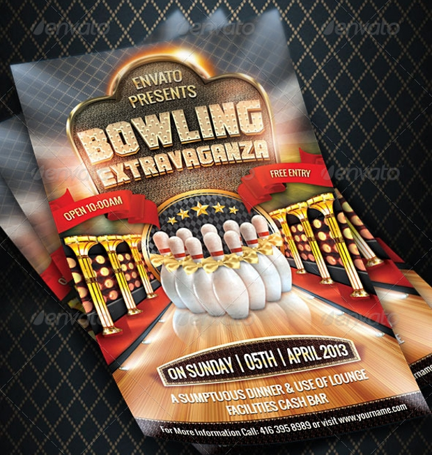 beautiful bowling flyer design